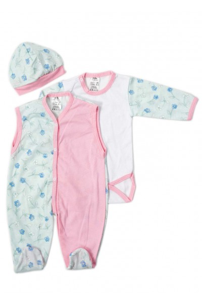 Compleu bebe bumbac body-salopeta-caciulia roz-vernil floricele