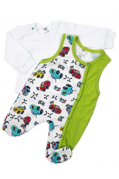 Compleu bebe bluza-salopeta masinute vernil