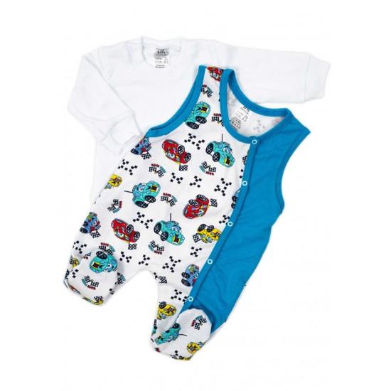 Compleu bebe bluza-salopeta masinute albastru
