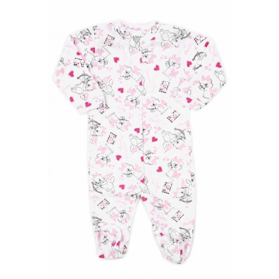 salopeta bebe bumbac subtire azuga pisicute roz