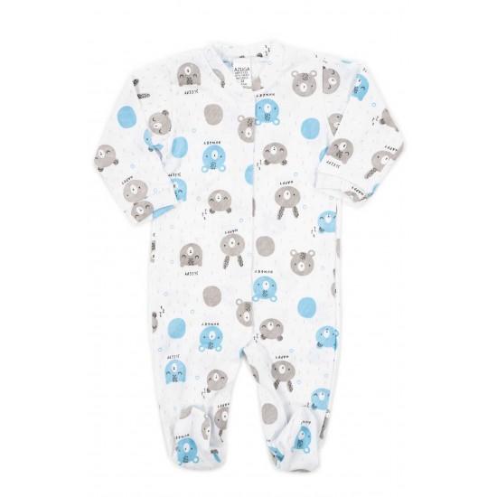 salopeta bebe bumbac azuga cap urs bleu-gri