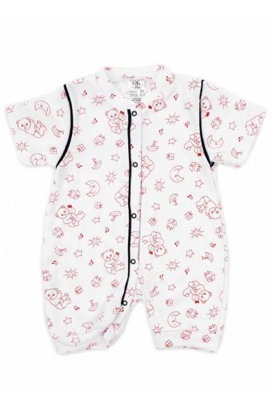 salopeta bebe bumbac bermuda iris ursuleti rosii