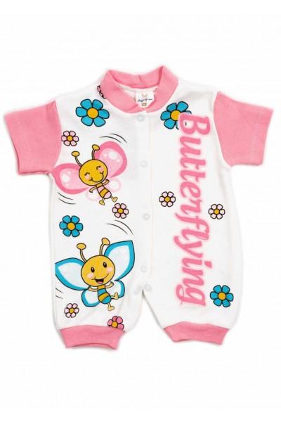 salopeta bebe bumbac bermuda maneci roz