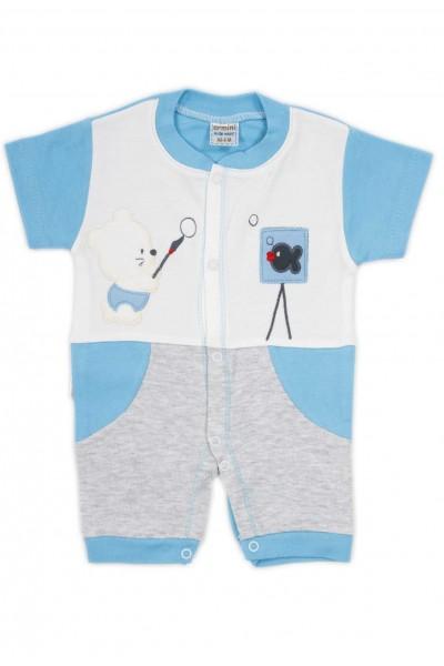 salopeta bebe bumbac bermuda maneci bleu ursuleti