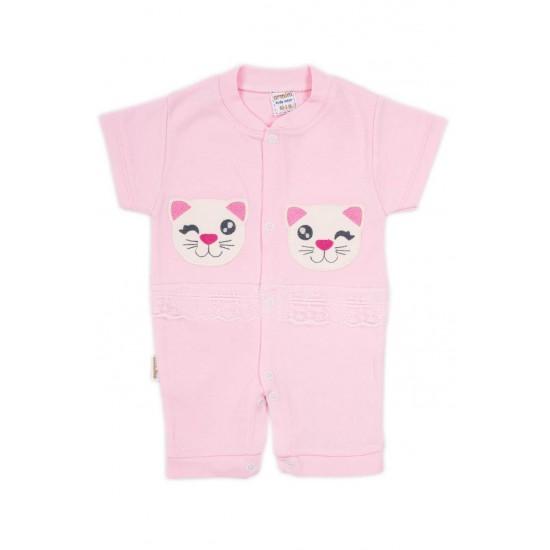 salopeta bebe bumbac bermuda roz pisicuta