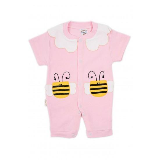 salopeta bebe bumbac bermuda roz albinuta