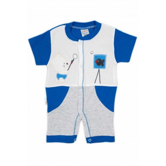 salopeta bebe bumbac bermuda maneci albastre cu ursuleti