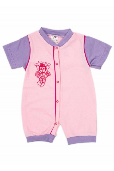 salopeta bebe bumbac bermuda roz-mov
