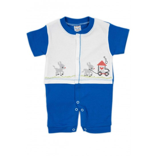 salopeta bebe bumbac bermuda maneci albastre caluti
