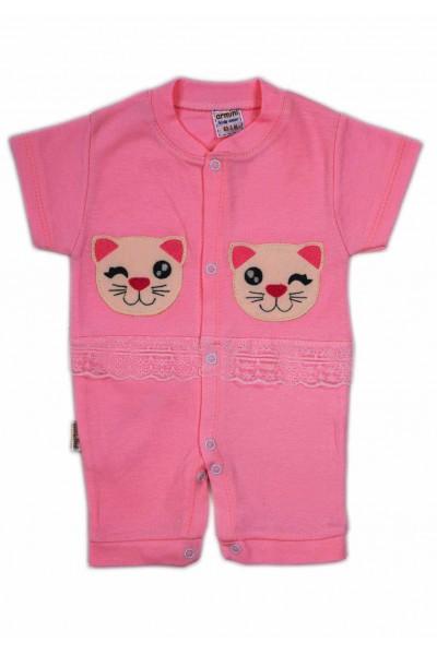 salopeta bebe bumbac bermuda roz cyclame pisicuta