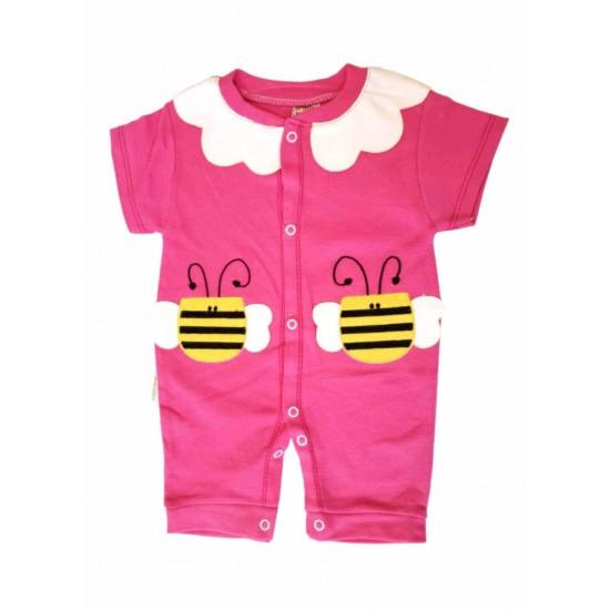 salopeta bebe bumbac bermuda roz cyclame albinuta