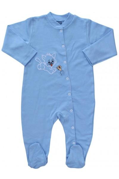 salopeta bumbac bebe bleu pisica