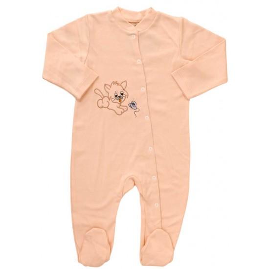salopeta bebe bumbac roz piersica