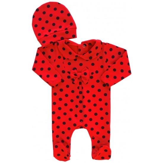 Salopeta bebe bumbac rosie buline negre
