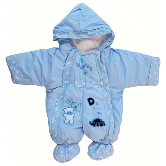 Salopeta exterior bebe bleu ursulet alb