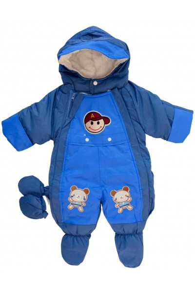 Salopeta bebe exterior albastru-turcoaz