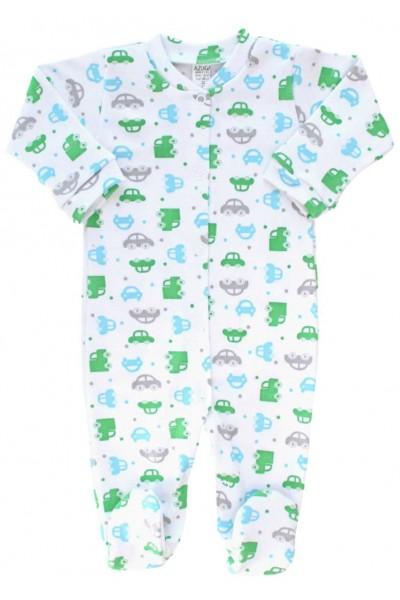 Salopeta bebe bumbac masinute verzi