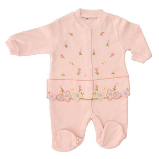 salopeta bumbac bebe roz floricele