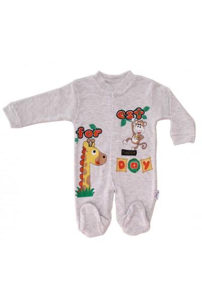 salopeta bumbac bebe gri girafa