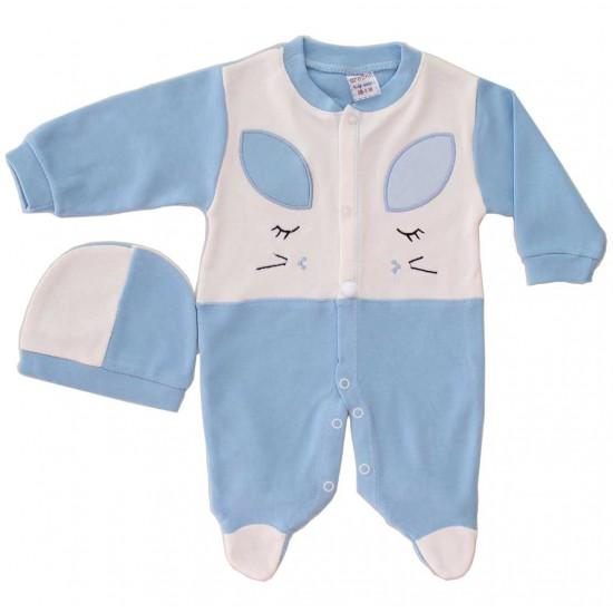 salopeta bumbac bebe bleu