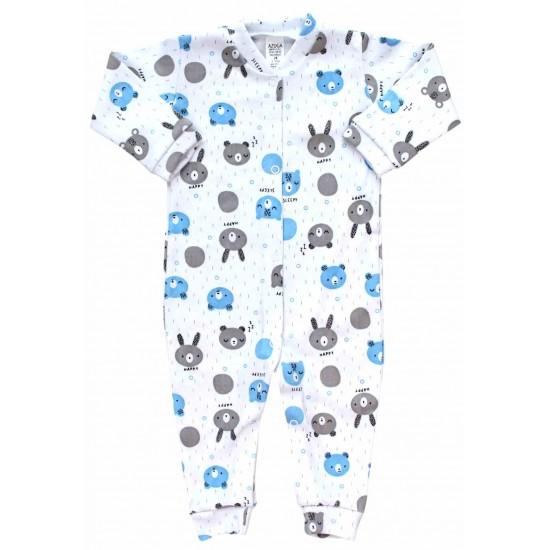 Salopeta bebe bumbac cap urs bleu-gri