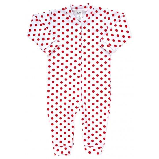 Salopeta bebe bumbac buline rosii
