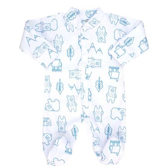 Salopeta bebe bumbac bc ursuleti bleu