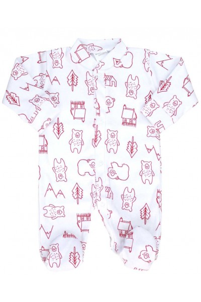 Salopeta bebe bumbac bc ursuleti rosii