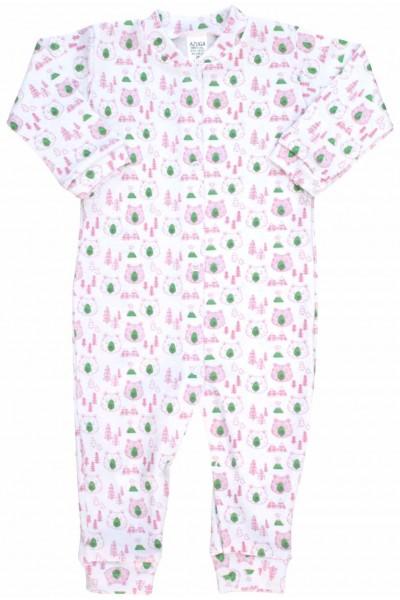 Salopeta bebe bumbac ursuleti roz