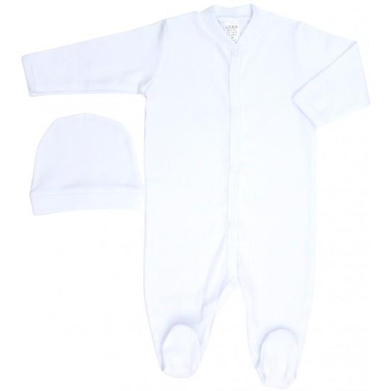 Salopeta bebe bumbac alba