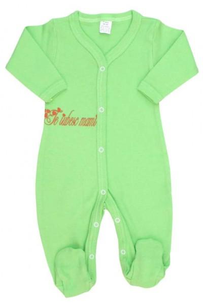 salopeta bebe bumbac verde fistic mesaj te iubesc mami