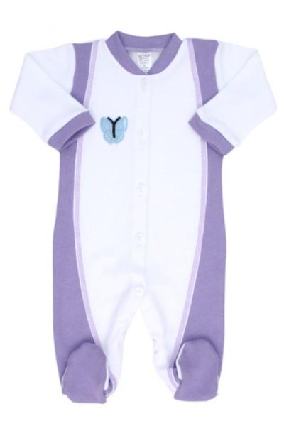 salopeta bebe bumbac alb mov