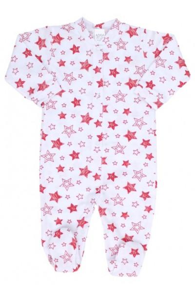 salopeta bebe bumbac subtire stelute rosii