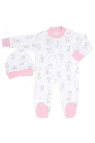 salopeta bebe bumbac animalute roz