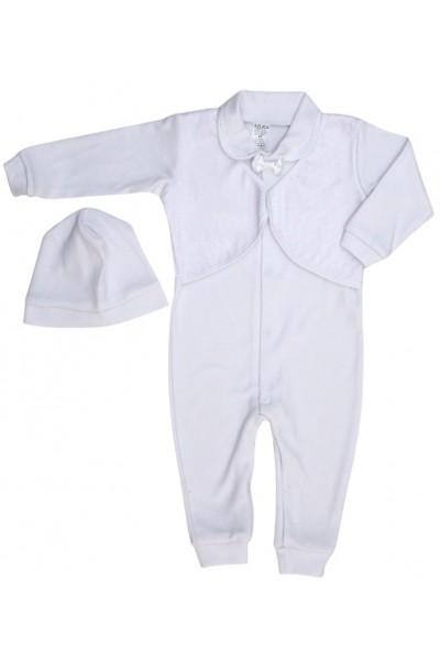 salopeta bebe bumbac botez alba papion