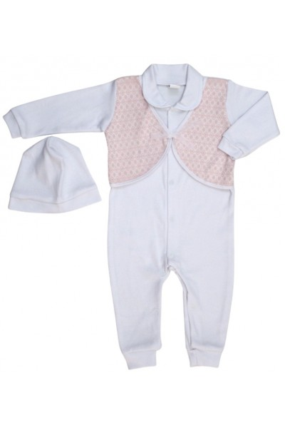 salopeta bebe bumbac botez alb-roz