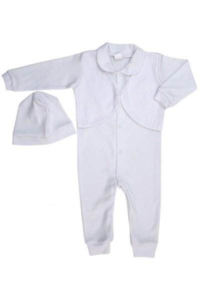 salopeta bebe bumbac botez alba