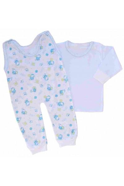 compleu bebe bumbac subtire bluza-salopeta ursuleti bleu