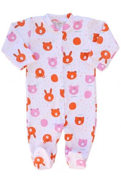salopeta bebe bumbac azuga cap urs orange-roz