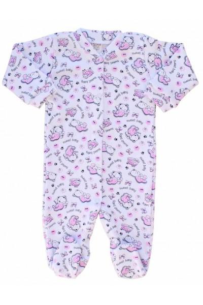 salopeta bebe bumbac azuga ursuleti roz