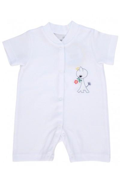 salopeta bebe bumbac bermuda alba model brodat