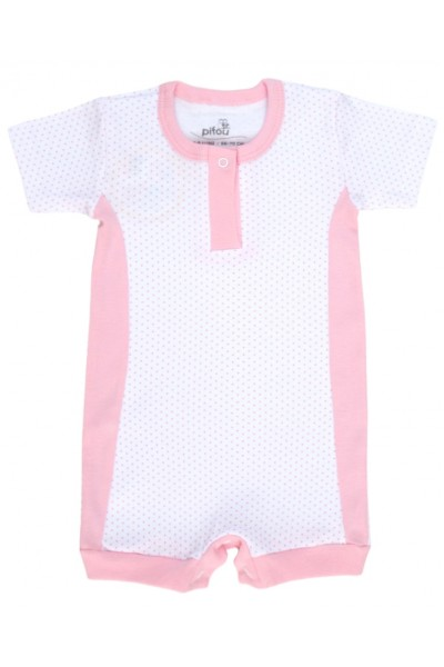 salopeta bebe bumbac bermuda insertii roz