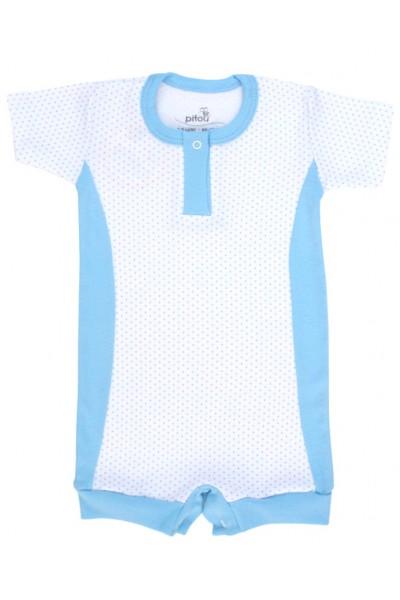 salopeta bebe bumbac bermuda insertii bleu