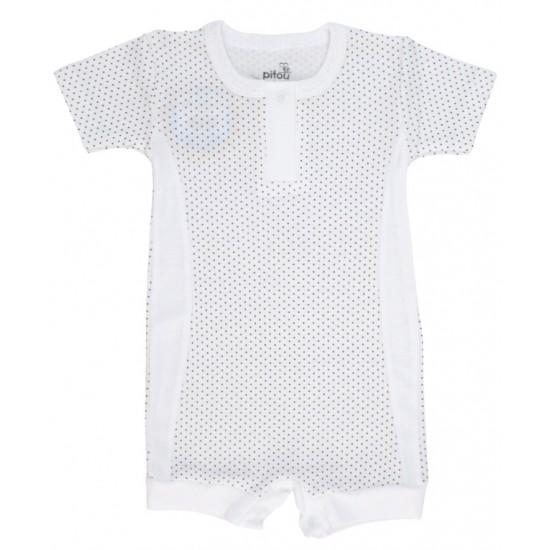 salopeta bebe bumbac bermuda insertii albe