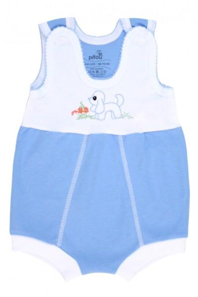 salopeta bebe bumbac bermuda albastru model brodat catel