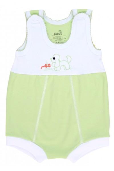 salopeta bebe bumbac bermuda verde model brodat catel