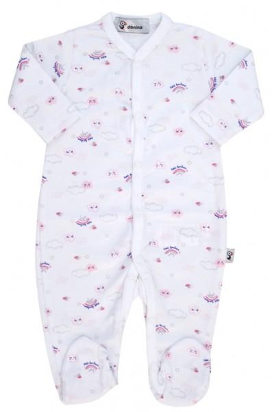salopeta bebe bumbac alba imprimeu roz norisori