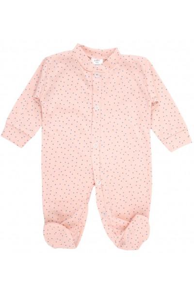 Salopeta bebe bumbac roz cu punctulete