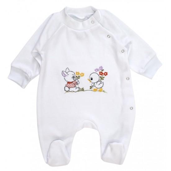 salopeta bumbac bebe alba iepurasi+puisor