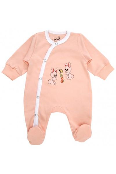salopeta bumbac bebe roz iepurasi